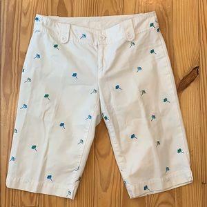Lilly Pulitzer White Umbrella Print Bermuda Shorts